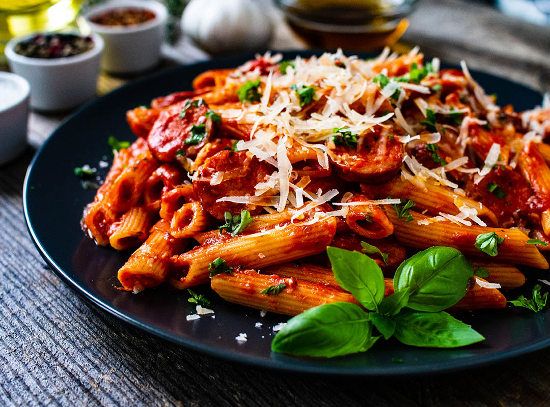 Image of Creamy Tomato, Spinach and Beef Penne