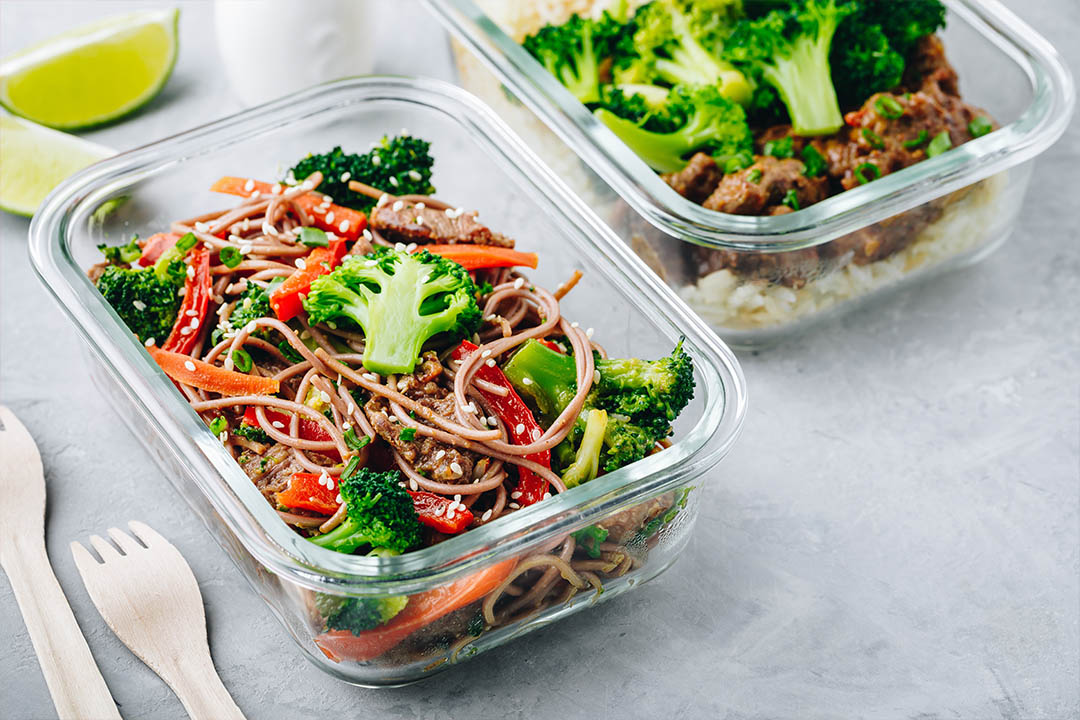 Picture of Beef broccoli noodles stir fry meal prep lunch box container