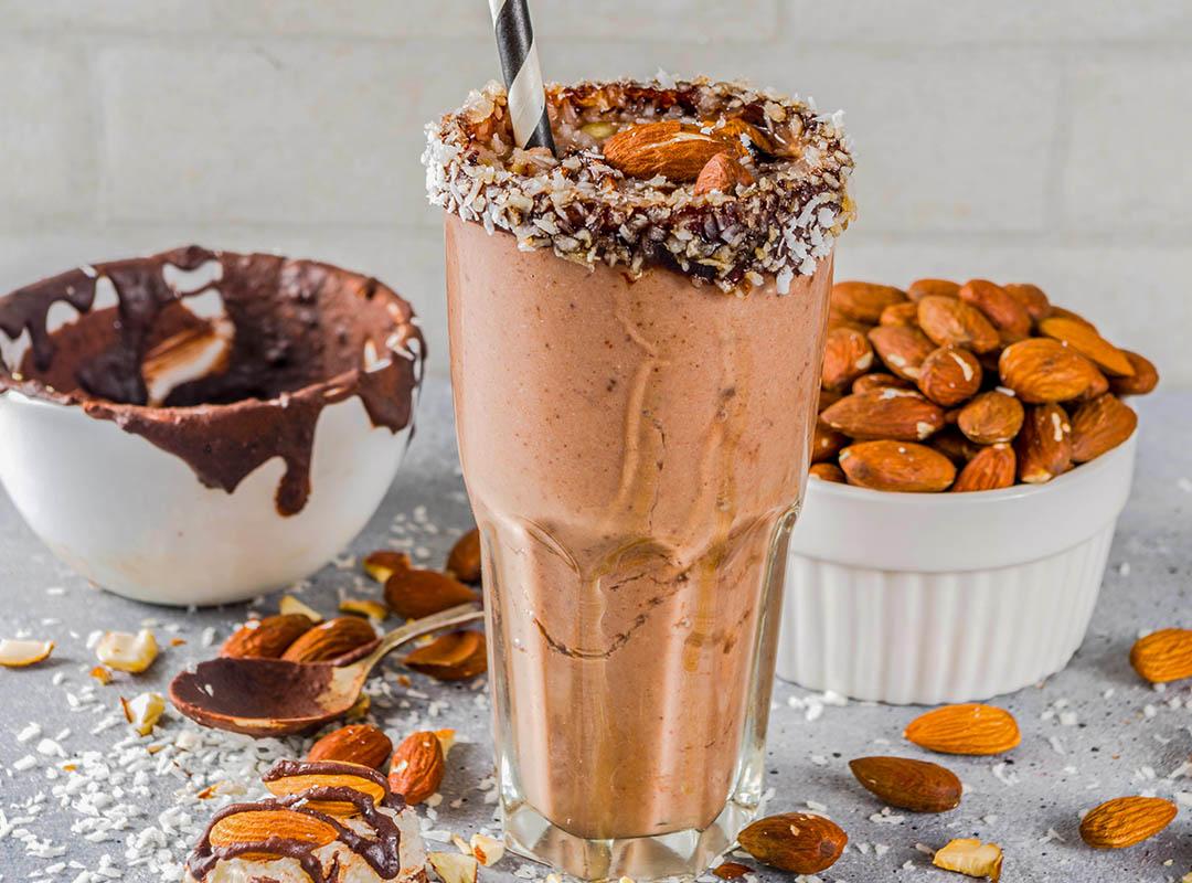 Coconut Chocolate Almond and Banana Custard Smoothie